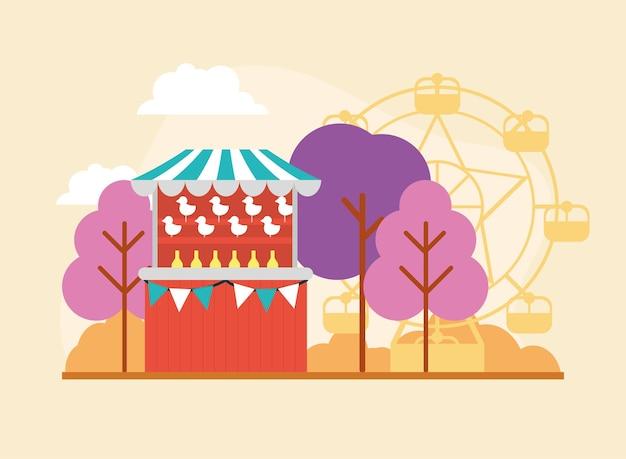 Tenda de circo ao ar livre e roda gigante