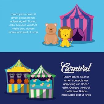 Tenda de circo com animais fofos e jogos