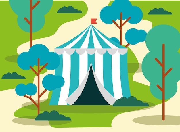 Tenda de circo com bandeira ou tenda de circo itinerante