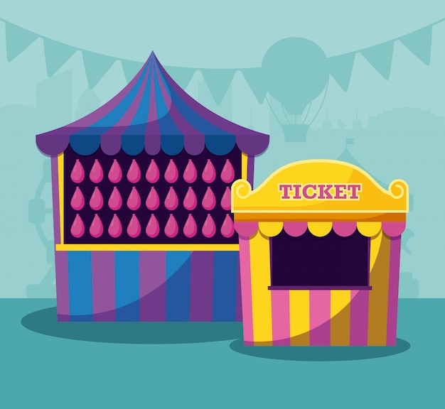 Tenda de circo com bilhete de venda