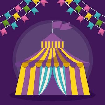 Tenda de circo com guirlandas ícone isolado