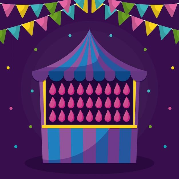 Tenda de circo com jogo e guirlandas
