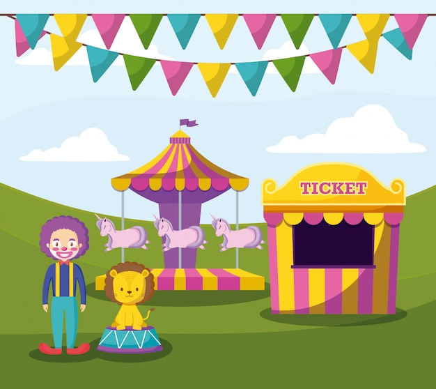 Tenda de circo com palhaço e animais fofos