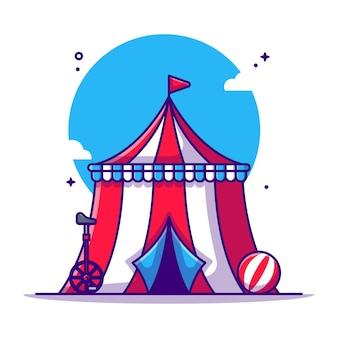 Tenda de circo e ilustração de desenho animado de bicicleta de circo