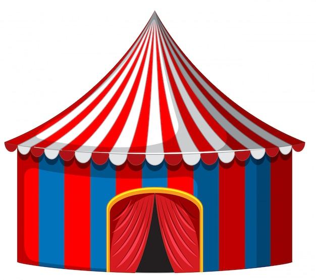Tenda de circo em vermelho e azul