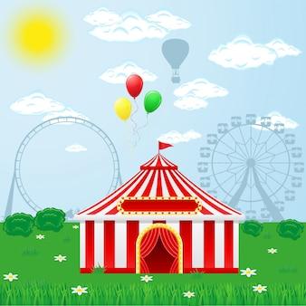 Tenda de circo na natureza