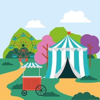 Tenda de circo ou parque de diversões e vista para o parque