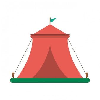 Tenda do festival de circo com bandeira