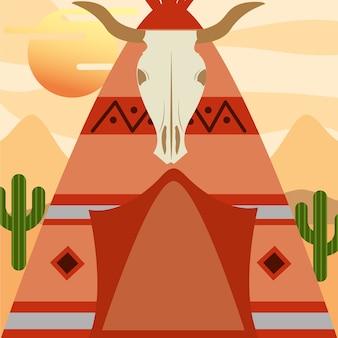 Tenda do nativo americano com o crânio do búfalo na entrada