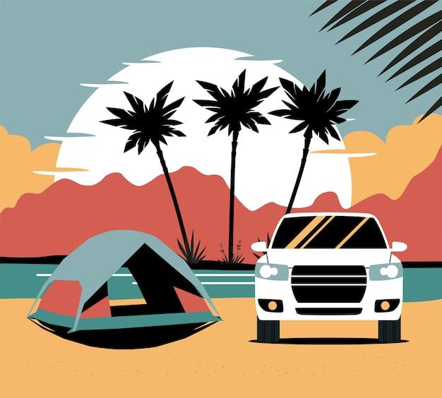 Tenda e carro suv no fundo da paisagem tropical abstrata.