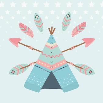 Tenda indiana com flechas e estilo boho de penas indianas