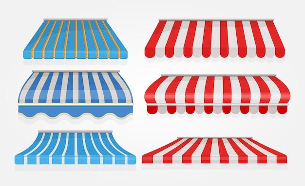 Tenda listrada. barraca de toldo de dossel de janela de compras ou restaurante com coleção de vetores de linhas vermelhas isolada. tenda de café, vitrine de rua de loja, ilustração de abrigo de dossel