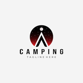 Tenda noturna camping logo vector design ilustração ícone