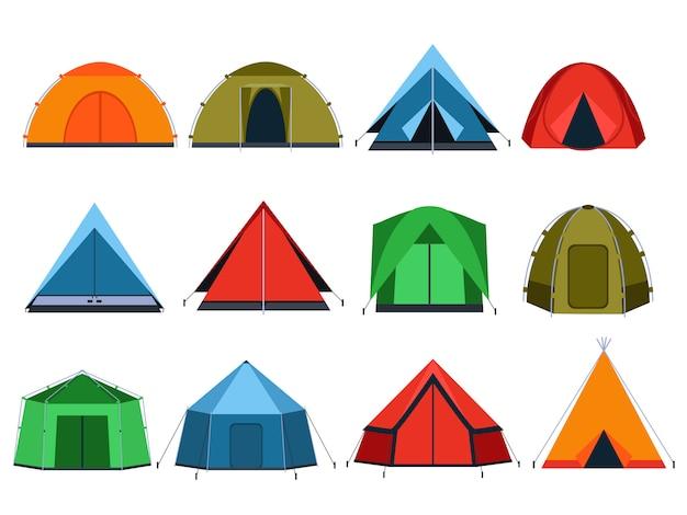 Tendas de turistas diferentes para acampar. fotos de vetor em estilo simples