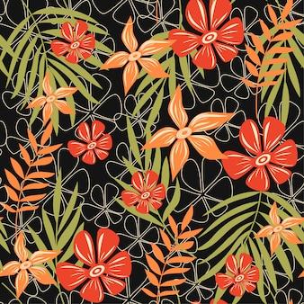 Tendência abstrata padrão sem emenda com folhas e plantas tropicais coloridas