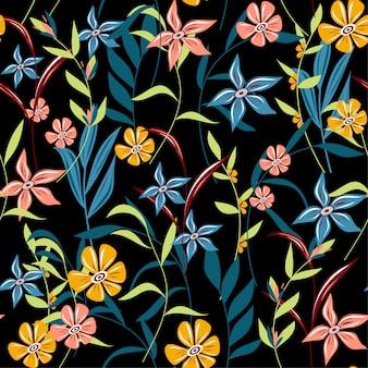 Tendência abstrata padrão sem emenda com folhas tropicais coloridas e flores sobre um fundo escuro