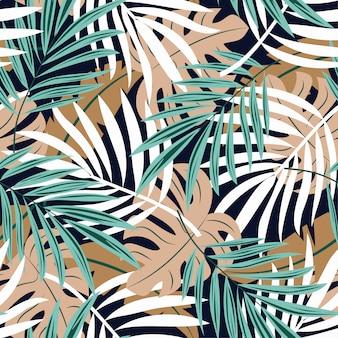 Tendência abstrata padrão sem emenda com folhas tropicais coloridas e plantas em fundo preto