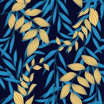 Tendência abstrata padrão sem emenda com folhas tropicais coloridas e plantas em um escuro