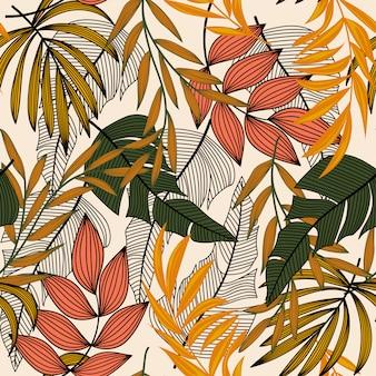 Tendência abstrata padrão sem emenda com folhas tropicais coloridas e plantas em uma luz