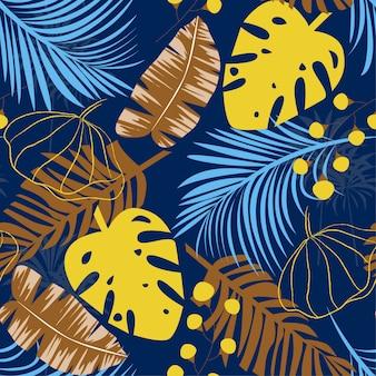 Tendência brilhante padrão sem emenda com folhas tropicais coloridas e plantas em azul