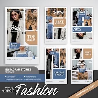 Tendência de moda e venda de modelo de história do instagram