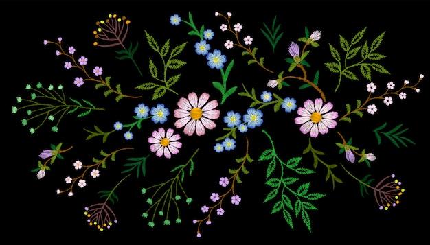 Tendência floral bordado padrão pequenos ramos erva margarida