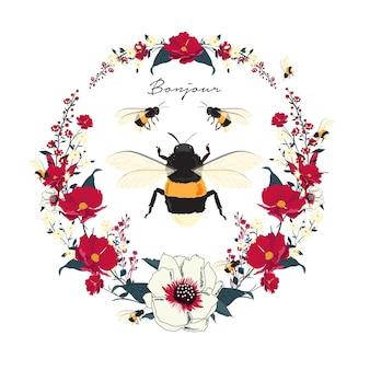 Tendência padrão floral com ramo de flores e abelhas.