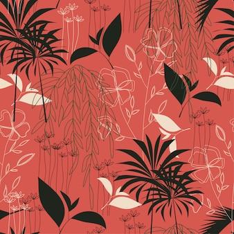 Tendência padrão tropical sem costura com folhas e plantas brilhantes