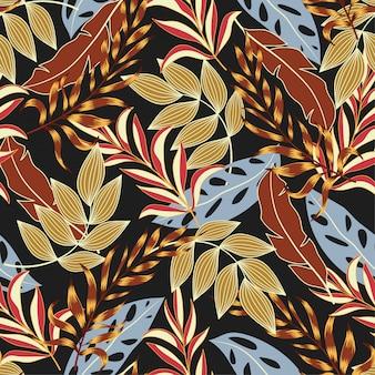 Tendência sem costura padrão tropical com plantas e folhas brilhantes de azuis e vermelhas