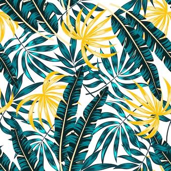 Tendência tropical padrão sem emenda com plantas e folhas