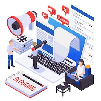 Tendências de smm de marketing de mídia social moderna com blogs, bate-papo, mensagens, compartilhamento de conteúdo