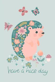 Tenha um bom dia cartão postal com um ouriço florescendo com a inscrição.
