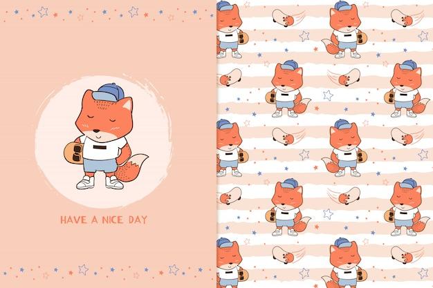 Tenha um bom dia padrão de raposa