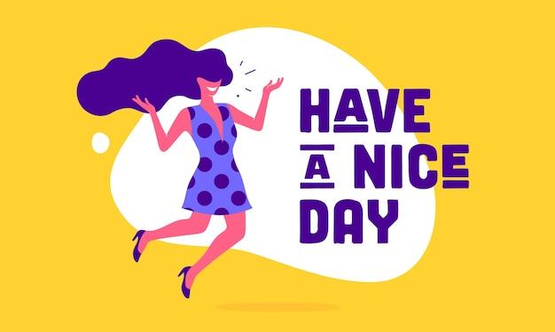 Tenha um bom dia. personagem plana moderna. mulher de escritório de negócios com sorriso, cabelo, vestido fala texto de bolha do discurso tenha um bom dia. caráter simples de mulher de negócios.