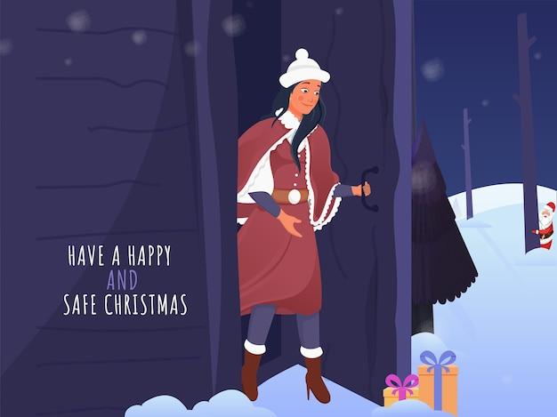Tenha um conceito de natal feliz e seguro com a jovem