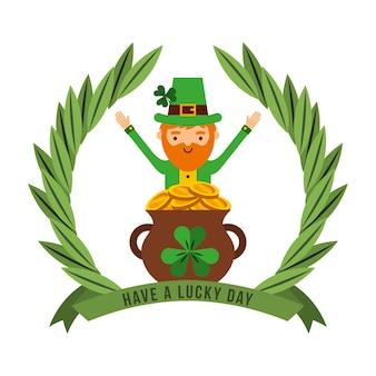 Tenha um dia de sorte leprechaun caldeirão tesouro emblema de moedas