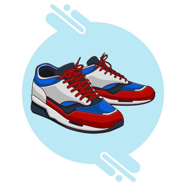 Tênis branco azul vermelho preto