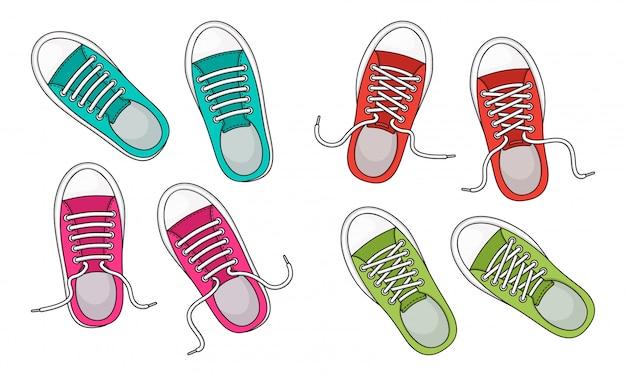 Tênis da moda colorida. vista do topo. sapatos de juventude casual.