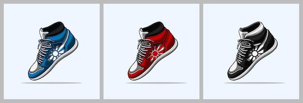 Tênis de basquete vermelho azul preto