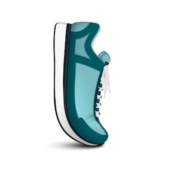 Tênis de corrida unissexo treinamento isolado vista lateral realista da sapatilha da moda verde posicionada verticalmente