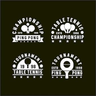 Tênis de mesa ping pong logotipos vintage colecções