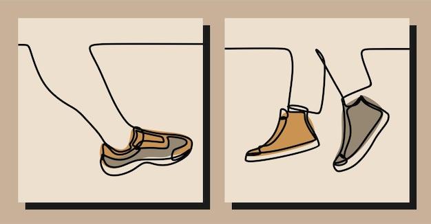 Tênis de perna e pé tênis conjunto de linha contínua de uma linha