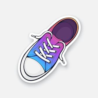 Tênis de tecido arco-íris com biqueira de borracha e laço frouxo. ilustração vetorial