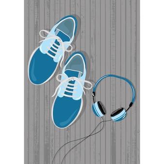Ténis e fones de ouvido colorido