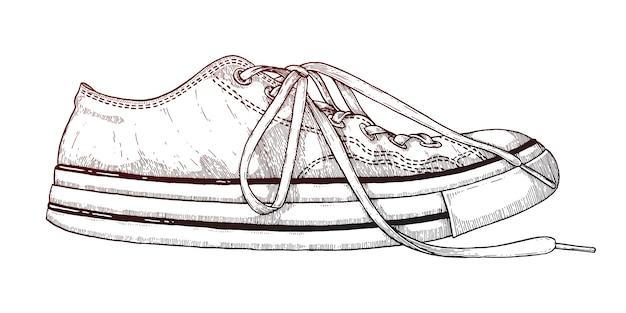 Tênis velhos de calçado.