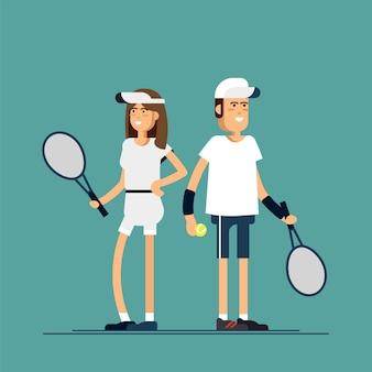 Tenistas masculinos e femininos em uniformes esportivos