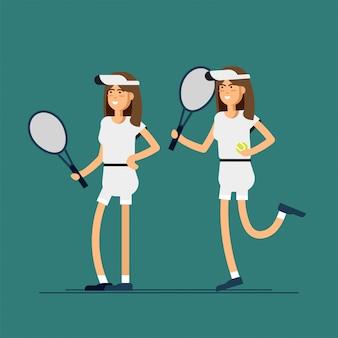 Tenistas masculinos e femininos em uniformes esportivos.