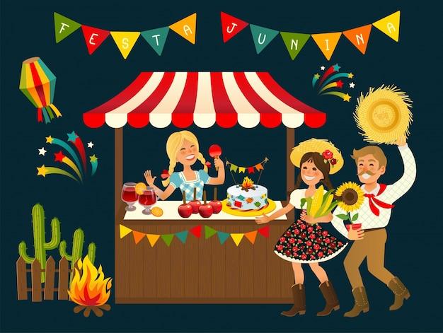 Tent festa junina candy de maçã brasileira - festival de festa de junho
