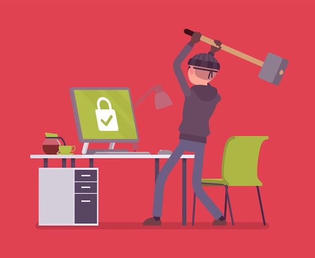 Tentativa de hacking de computador