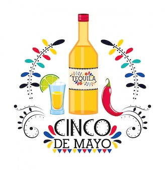 Tequila com pimenta para evento mexicano